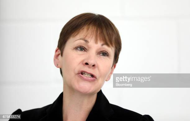 Caroline Lucas coleader of the Green Party speaks during a news conference in London UK on Tuesday May 2 2017 Five weeks before the general election...