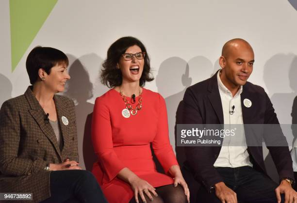 Caroline Lucas Layla Moran and Chuka Umunna seen during People's Vote campaign on the Brexit deal launch event in Camden Town on April 15 2018 in...