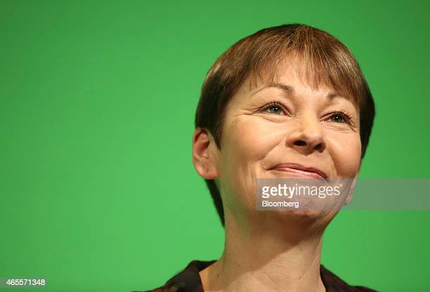 Caroline Lucas member of parliament for the Green Party pauses as she speaks to delegates during the party's spring conference in Liverpool UK on...