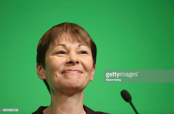 Caroline Lucas member of parliament for the Green Party reacts as she addresses delegates during the party's spring conference in Liverpool UK on...