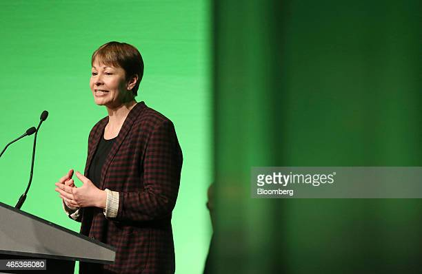 Caroline Lucas member of parliament for the Green Party speaks as she addresses delegates during the party's spring conference in Liverpool UK on...