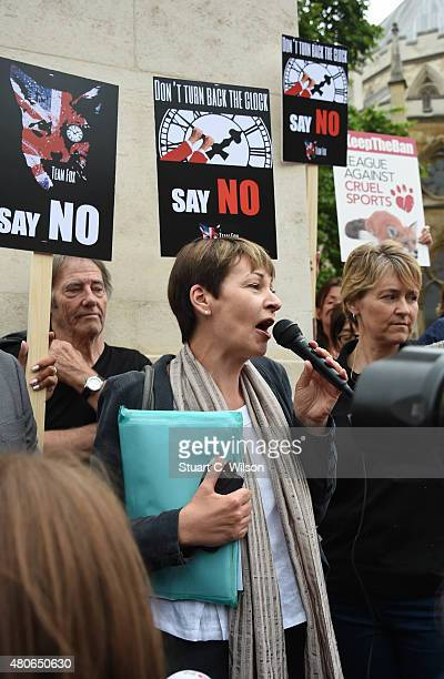 Caroline Lucas MP for the Green Party speaks during an antifox hunting rally for PETA on July 14 2015 in London England