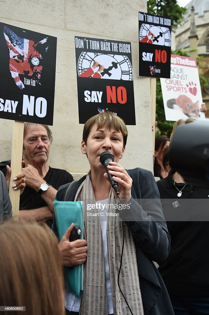 Caroline Lucas, MP for the Green Party speaks during an anti-fox hunting rally for PETA on July 14, 2015 in London, England.
