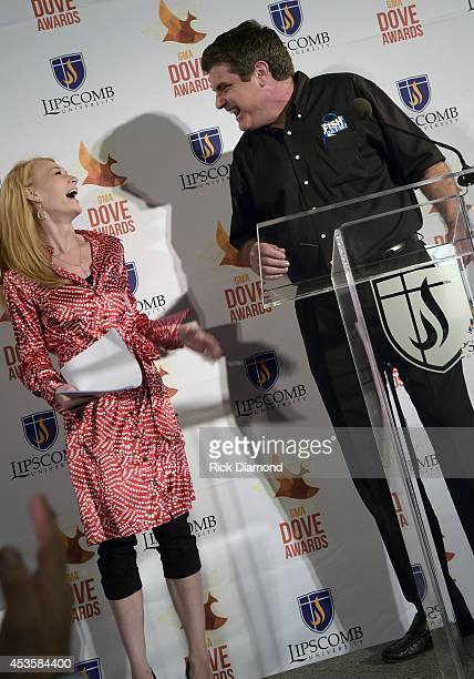Caroline Lusk and Doug Griffin attend the nominees during the 45th Annual GMA Dove Awards Nominations Press Conference at Allen Arena on Lipscomb...