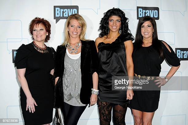 Caroline Manzo Dina Manzo Jacqueline Laurita and Teresa Giudice of the Real Housewives of New Jersey attend Bravo's 2010 Upfront Party at Skylight...