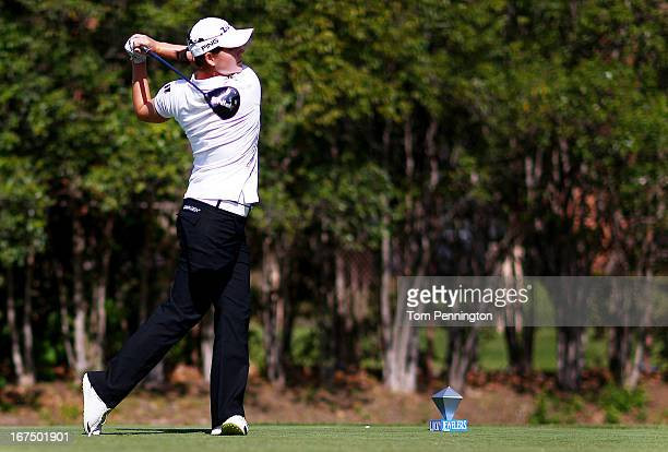 Caroline Masson of Germany hits a shot during the first round of the 2013 North Texas LGPA Shootout athe Las Colinas Country Club on April 25 2013 in...