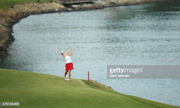 Caroline Masson of Germany plays an approach shot on the 15th hole during the first round of the HSBC Women's Champions at Sentosa Golf Club on...