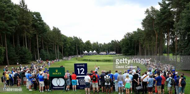 Caroline Masson of Germany plays her tee shot on the par 4, 12th hole during the third round of the AIG Women's British Open on the Marquess Course...