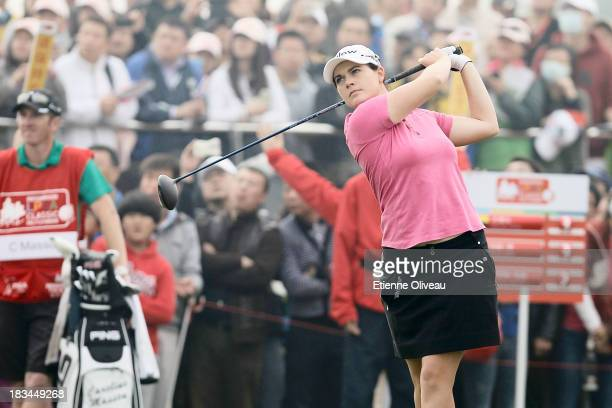 Caroline Masson of Germany tees off during the final round of the Reignwood LPGA Classic at Pine Valley Golf Club on October 6 2013 in Beijing China