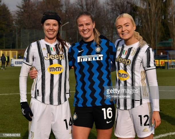 Caroline Moller Hansen of FC Internazionale poses with Skovsen Matilde and Sofie Junge Pedersen of Juventus Women of Juventus Women after the Women...