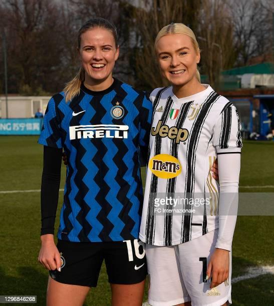Caroline Moller Hansen of FC Internazionale poses with Skovsen Matilde of Juventus Women after the Women Serie A match between FC Internazionale and...