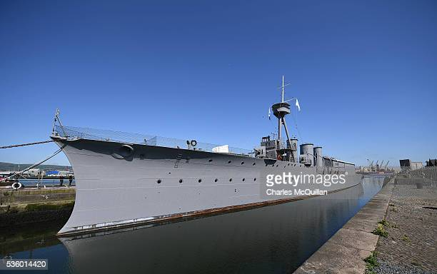 Caroline moored in the Titanic Quarter on May 31, 2016 in Belfast, Northern Ireland. HMS Caroline is the last surviving ship from the 1916 Battle of...