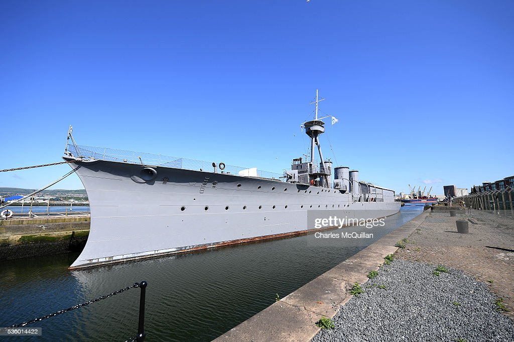 HMS Caroline moored in the Titanic Quarter on May 31, 2016 in Belfast, Northern Ireland. HMS Caroline is the last surviving ship from the 1916 Battle of Jutland and today hosted a special all island commemoration service ahead of it's reopening to the public tomorrow after a major restoration project. The Battle of Jutland is remembered as the largest and deadliest naval battle of World War One, where more than 6,000 British and more than 2,500 German personnel lost their lives in the 36-hour Battle off the coast of Denmark.