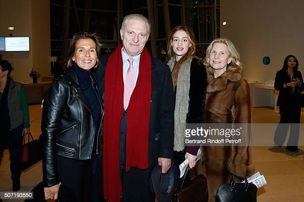 Caroline Moorkens Alain Flammarion Guest and Suzanna Flammarion attend the 'Bentu' Exhibition at the Louis Vuitton Foundation Coorganized with the...