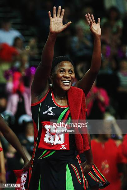 Caroline Mtukule of Malawi thanks the crowd after winning the match between Malawai and England on day two of the Fast5 Netball World Series at...