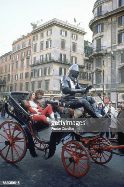 Caroline Munro David Hasselhoff and Hamilton Camp ride in a carriage in Rome The three appear in the science fiction film Starcrash by director Luigi...