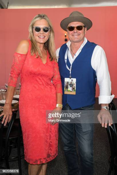 Caroline Murphy and INXS member Jon Farris attend Magic Millions Polo on January 7 2018 in Gold Coast Australia