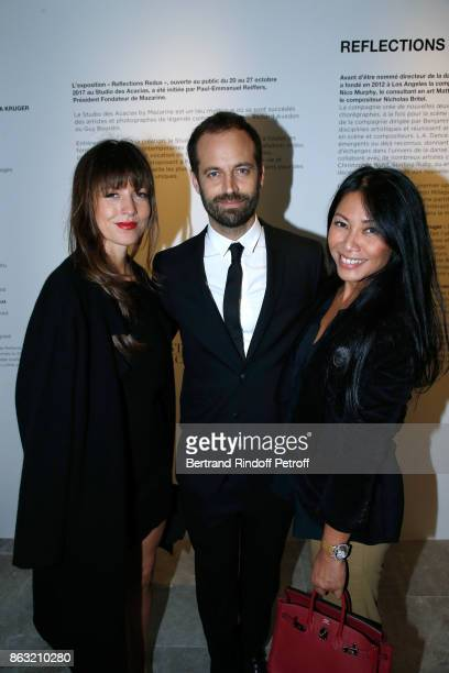 Caroline Nielsen Benjamin Millepied and singer Anggun attend the Art Exhibition Reflexion Redux of Benjamin Millepied and Barbara Kruger at Studio...