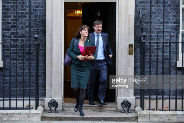 Caroline Nokes UK immigration minister left and Greg Clark UK business secretary leave following a weekly meeting of cabinet ministers at number 10...