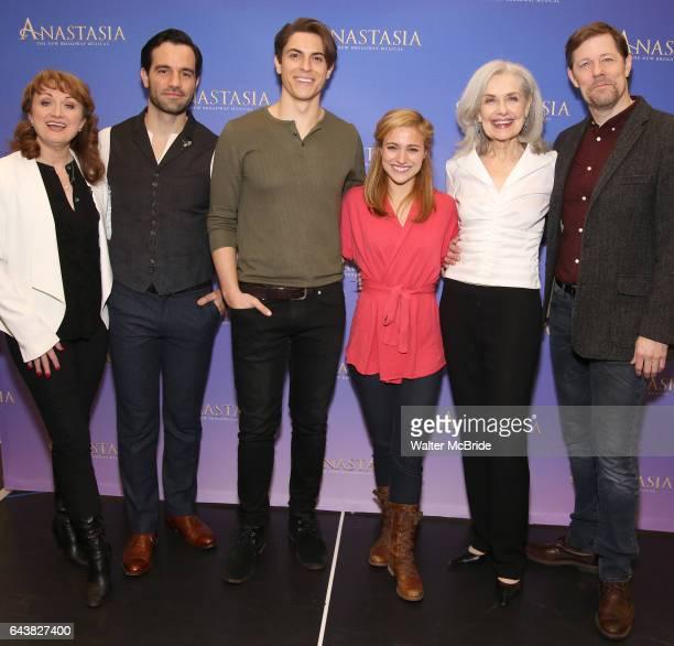 Caroline OÕConnor Ramin Karimloo Derek Klena Christy Altomare Mary Beth Peil and John Bolton attend the ''Anastasia' Cast Photo Call at the New 42nd...