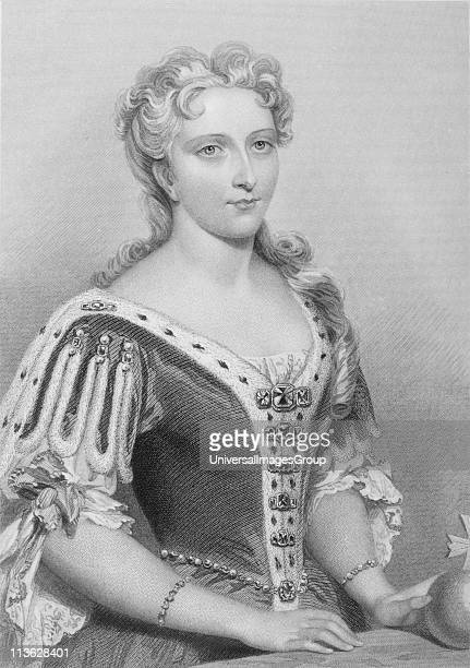 """Caroline of Ansbach,1683-1737. Queen consort of King George II of England. Engraved by G. Brown after J.W.Wright.From the book """"The Queens of..."""