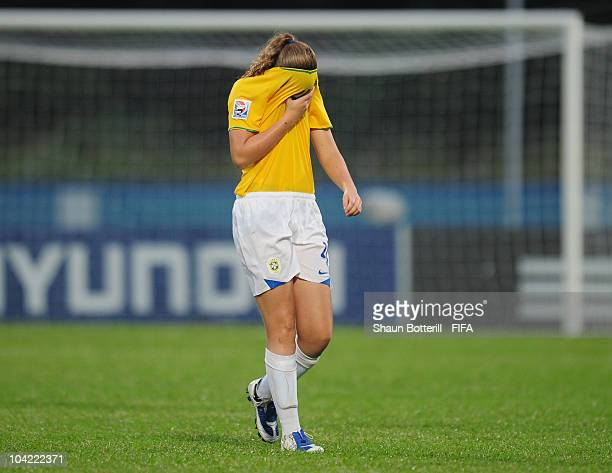 Caroline of Brazil is dejected at the final whistle of the FIFA U17 Women's World Cup Quarter Final match between Spain and Brazil at the Ato Boldon...