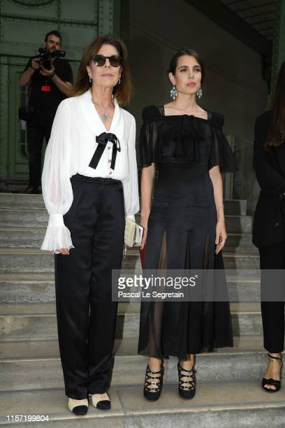 Caroline of Hanover and Charlotte Casiraghi pose prior the Karl Lagerfeld Homage at Grand Palais on June 20 2019 in Paris France