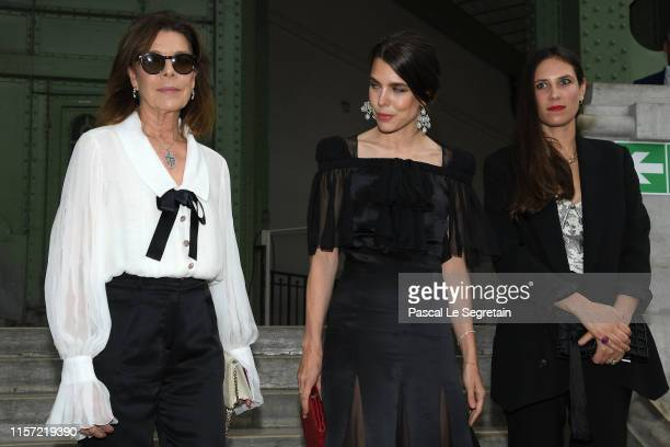 Caroline of Hanover, Charlotte Casiraghi and Tatiana Casiraghi pose prior the Karl Lagerfeld Homage at Grand Palais on June 20, 2019 in Paris, France.