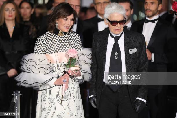 Caroline of Monaco, Princess of Hanover and German fashion designer Karl Lagerfeld arrive for the annual Rose Ball at the Monte-Carlo Sporting Club...