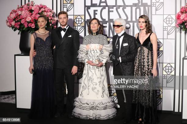 Caroline of Monaco, Princess of Hanover , her daughter Charlotte Casiraghi , her son Pierre Casiraghi and his wife Beatrice Casiraghi , and German...