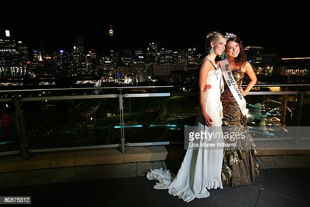 Caroline Pemberton poses with Katie Richardson the newly crowned 'Miss World Australia' at the Star City Grand Ballroom on April 9, 2008 in Sydney,...