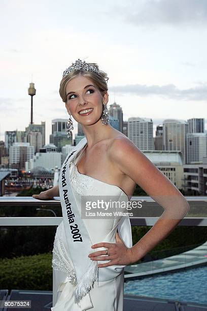 Caroline Pemberton the reigning Miss World Australia beauty queen poses for a photo at the Star City Grand Ballroom on April 9 2008 in Sydney...