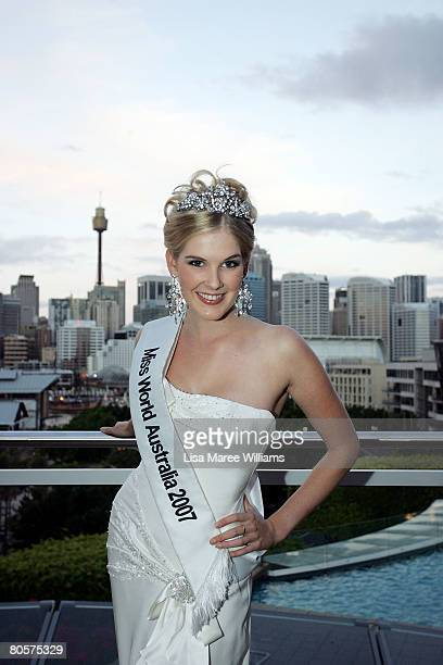 Caroline Pemberton the reigning Miss World Australia beauty queen poses for a photo at the Star City Grand Ballroom on April 9, 2008 in Sydney,...