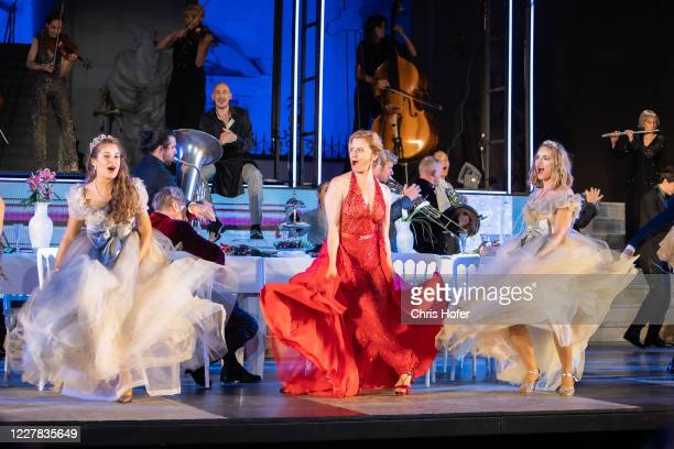 """Caroline Peters as """"Buhlschaft"""" performing on stage during the outdoor TV and press rehearsal of the production """"Jedermann"""" at Domplatz on July 29,..."""