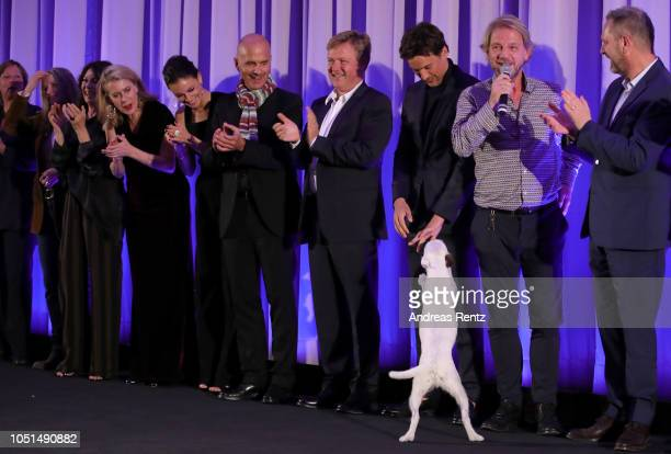 Caroline Peters Janina Uhse Christoph Maria Herbst Justus von Dohnanyi Florian David Fitz and a dog attend the German premiere of the film 'Der...