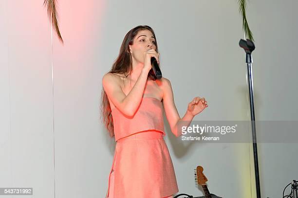 Caroline Polachek attends Fete Harriett A Fundraiser Benefiting The Harriett Buhai Center For Family Law at Austere on June 29 2016 in Los Angeles...