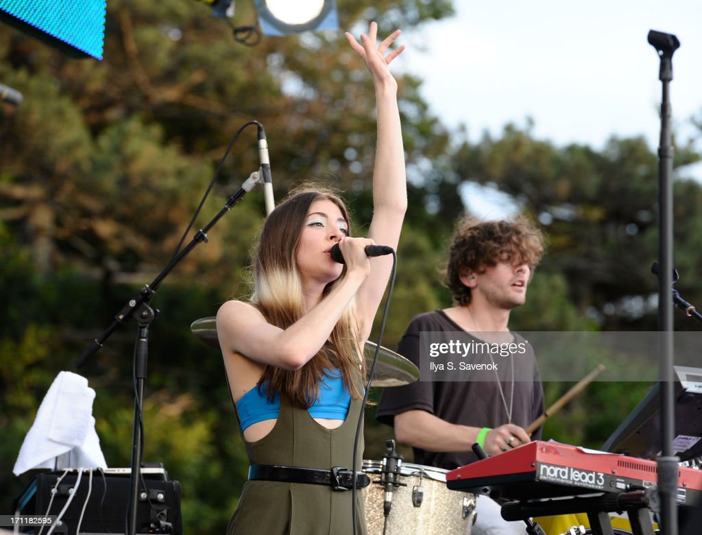 Caroline Polachek of Chairlift performs at Tropfest New York 2013, the world's largest short film festival, at Prospect Park on June 22 in Brooklyn.
