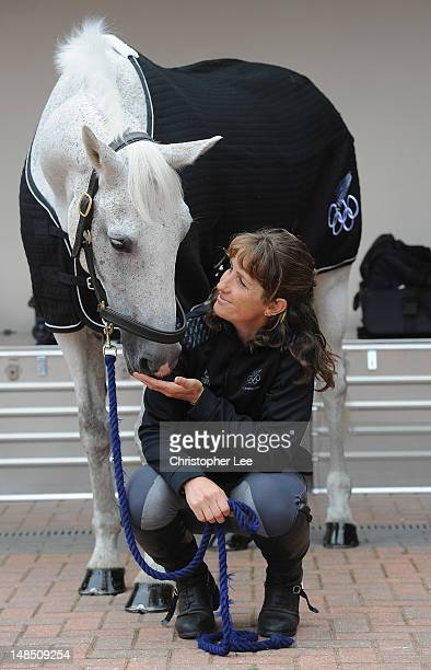 Caroline Powell of New Zealand and Lenamore during the Team New Zealand Olympic Equestrian Eventing media day at Park House on July 18 2012 in...