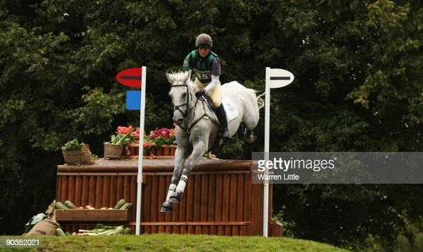 Caroline Powell of New Zealand rides Lenamore during the cross country event on day three of the Land Rover Burghley Horse Trials on September 5 2009...