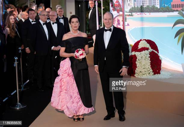 Caroline, Princess of Hanover and Albert II, Prince of Monaco attend the Rose Ball 2019 to benefit the Princess Grace Foundation on March 30, 2019 in...