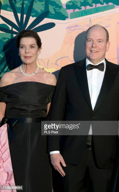 Caroline Princess of Hanover and Albert II Prince of Monaco attend the Rose Ball 2019 to benefit the Princess Grace Foundation on March 30 2019 in...