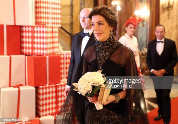 Caroline Princess of Hanover arrives for a Surrealist Dinner Party at the Monte Carlo Casino in Monaco on December 9 2017 / AFP PHOTO / VALERY HACHE