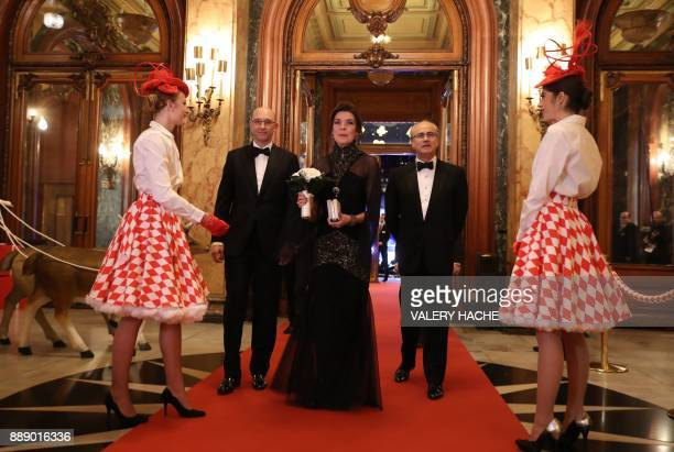 Caroline Princess of Hanover arrives with Director responsible for Gaming at the Monte Carlo Casino Pascal Camia and SBM Chairman of the Board and...