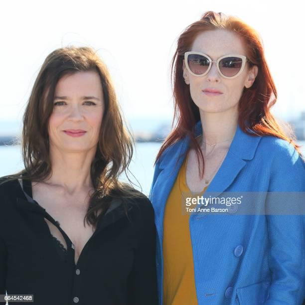 Caroline Proust and Audrey Fleurot attend Engrenages Photocall on April 3 2017 in Cannes France