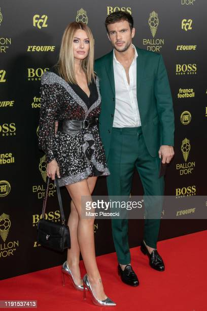 Caroline Receveur and Hugo Philip attend the photocall during the Ballon D'Or Ceremony at Theatre Du Chatelet on December 02 2019 in Paris France