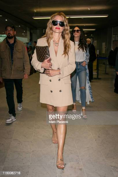 Caroline Receveur arrives ahead the 72nd annual Cannes Film Festival at Nice Airport on May 18 2019 in Nice France