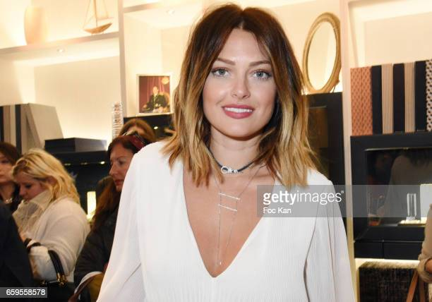 Caroline Receveur attends Caroline Receveur and Kika Prette Denim Capsule Collection Hosted by APM Monaco at APM Monaco Paris Opera shop on March 28...