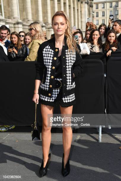 Caroline Receveur attends the Balmain show as part of the Paris Fashion Week Womenswear Spring/Summer 2019 on September 28, 2018 in Paris, France.