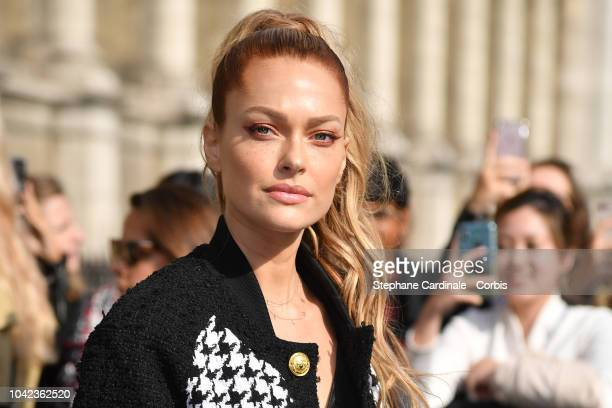Caroline Receveur attends the Balmain show as part of the Paris Fashion Week Womenswear Spring/Summer 2019 on September 28 2018 in Paris France