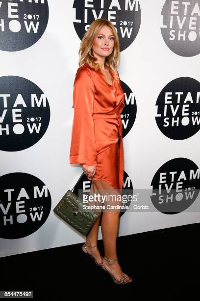 Caroline Receveur attends the Etam show as part of the Paris Fashion Week Womenswear Spring/Summer 2018 at on September 26 2017 in Paris France